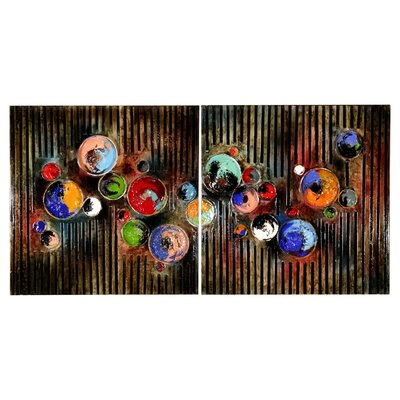 Home Essence Paint Pots Abstract 2 Piece Graphic Art on Canvas Set