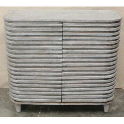 Kace Mango Wood Curved Slat Accent Cabinet