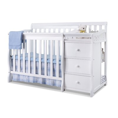 Newport 2-in-1 Convertible Mini Crib and Changer Color: White