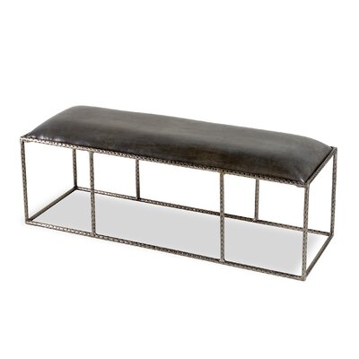 Ethan Leather Bench Color: Gray