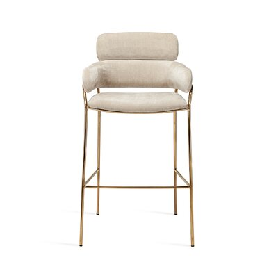 "Marino 30"" Bar Stool Upholstery: Beige Latte, Frame Color: Gold"