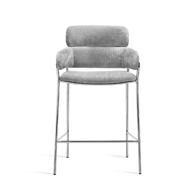 "Marino 30"" Bar Stool Upholstery: Ocean Gray, Frame Color: Nickel"