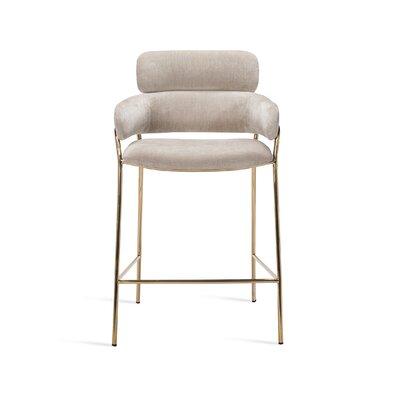 "Marino 26"" Bar Stool Upholstery: Beige Latte, Frame Color: Gold"