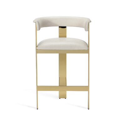 "Darcy 26"" Bar Stool Upholstery: Buff Cream, Frame Color: Shiny Brass"