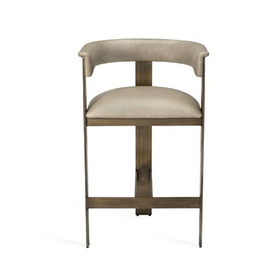 "Darcy 26"" Bar Stool Upholstery: Horizon Gray, Frame Color: Polished Nickel"