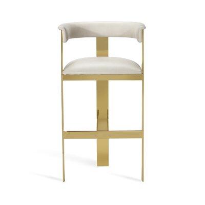 "Darcy 30"" Bar Stool Upholstery: Buff Cream, Frame Color: Shiny Brass"