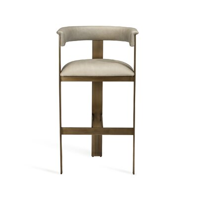 "Darcy 30"" Bar Stool Upholstery: Fawn Taupe, Frame Color: Antique Bronze"
