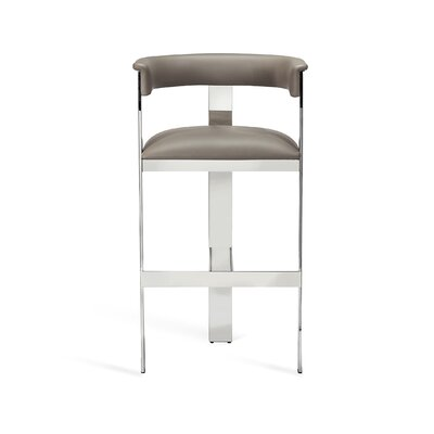 "Darcy 30"" Bar Stool Upholstery: Horizon Gray, Frame Color: Polished Nickel"