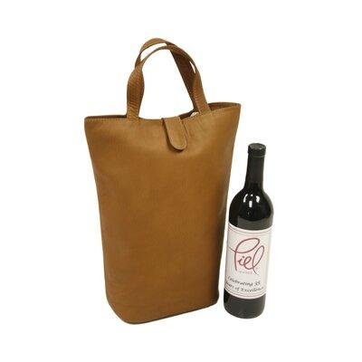 Piel Leather Fashion Avenue Double Wine Tote in Saddle
