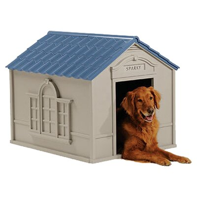 Deluxe Dog House in Taupe & Blue