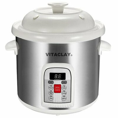 6.5 qt. New Smart Stoneware Stock Pot with Lid Color: White/Gray