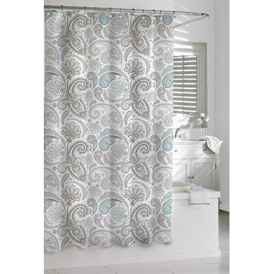 Paisley Cotton Shower Curtain Color: Blue/Gray