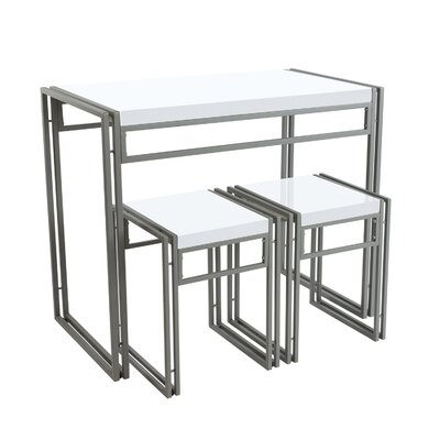 Debby Small Space 3 Piece Dining Set Top Finish/Frame Finish: White/Light Gray