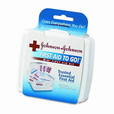 Johnson & Johnson Mini First Aid To Go Kit, 12 Pieces, Plastic Case