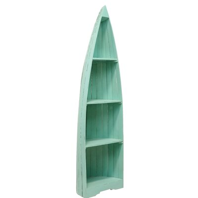 "Boat Standard Bookcase Size: 74"" H x 22"" W x 17"" D, Color: Antique Brush Island Blue"