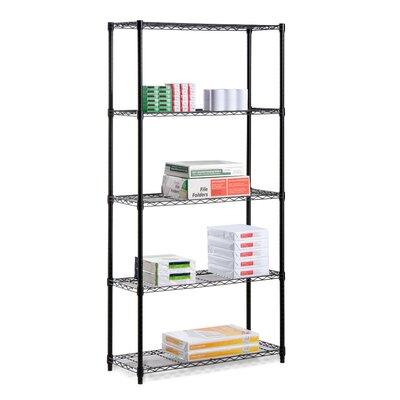 """72"""" H Five Shelf Shelving Unit Finish: Black"""