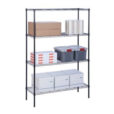 """4 Tier Wire Shelf Finish: Black, Orientation: 72"""" H x 48"""" W x 18"""" D"""