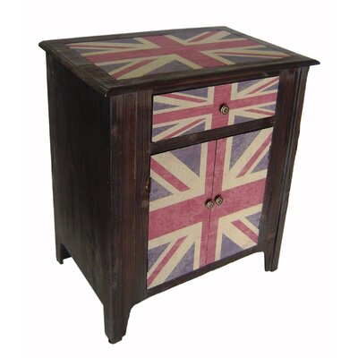 Union Jack 1 Drawer 2 Door Accent Cabinet