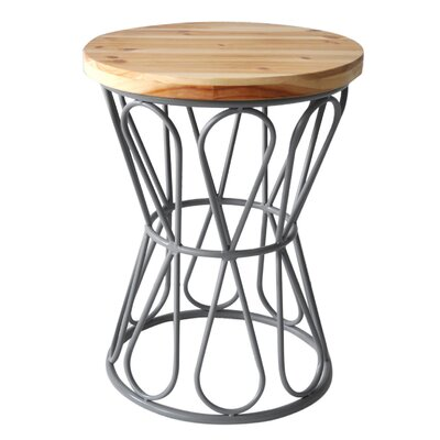 Wood Top Stool with Metal Base Finish: Gray