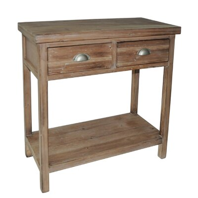 2 Drawer Wood Hallway Table with 1 Lower Shelf