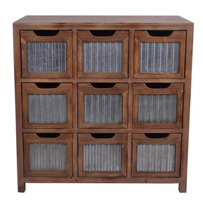 Wooden 9 Slot Square Drawer with Accent Chest