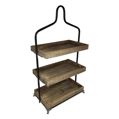 3 Tier Wood Top Storage Shelving Unit