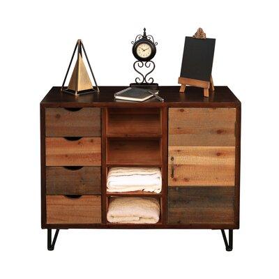 4 Drawer, Center 4 Slot Organizer with Shelf Accent Cabinet