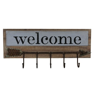 Pressnell Welcome Wall Sign with Hooks