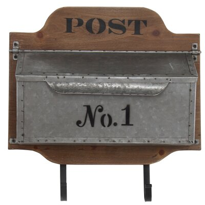 Priester Storage Mail with Wood Back Compartment and 2 Metal Wall Hook