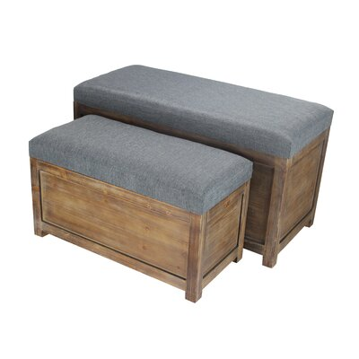 Woodrum 2 Piece Wooden Storage Bench Set