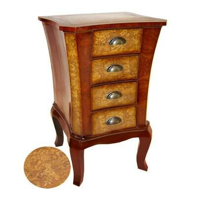Wooden Flower Print 4 Drawer Accent Cabinet