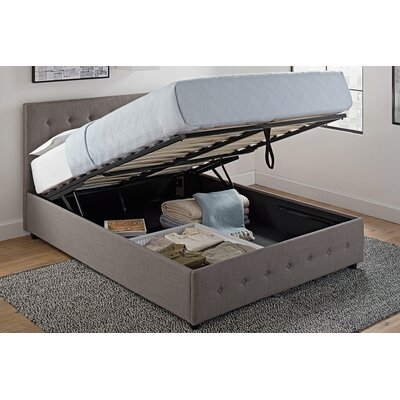 queen storage platform bed frame upholstered grey linen tufted headboard lift