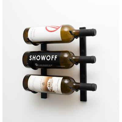 3 Bottle Metal Wall Mounted Wine Rack Finish: Satin Black