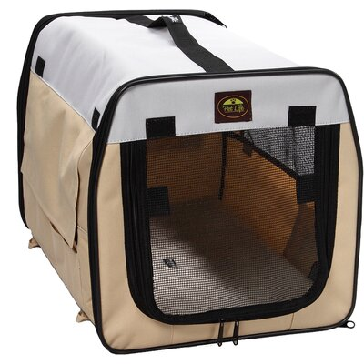 """Zippered Easy Carry Pet Carrier Size: Medium (20.5"""" H x 20.5"""" W x 27.5"""" L), Color: Khaki and Grey"""
