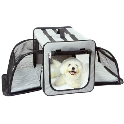 """Lachlan Dual-Expandable Wire Folding Lightweight Collapsible Travel Pet Crate Size: 24.8"""" H x 24.8"""" W x 35.8"""" L, Color: Gray"""