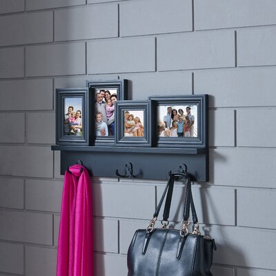 Greensboro Hanging Hooks with Built-in Photo Frames Wall Mounted Coat Rack