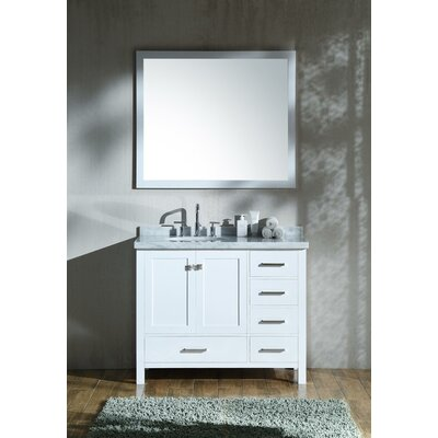 "Marine 43"" Wood Single Bathroom Vanity Set Base Finish: White"