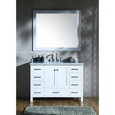 "Marine 49"" Single Rectangle Bathroom Vanity with Mirror Base Finish: White"
