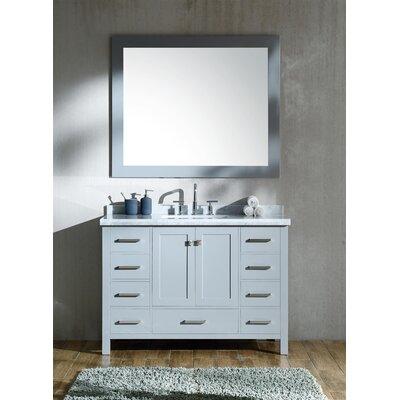 "Marine 49"" Single Rectangle Bathroom Vanity with Mirror Base Finish: Gray"