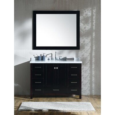 "Marine 49"" Single Rectangle Bathroom Vanity with Mirror Base Finish: Espresso"
