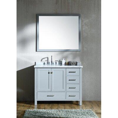 "Marine 42"" Single Bathroom Vanity Set with Mirror Base Finish: Gray"