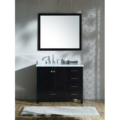 "Marine 42"" Single Bathroom Vanity Set with Mirror Base Finish: Espresso"