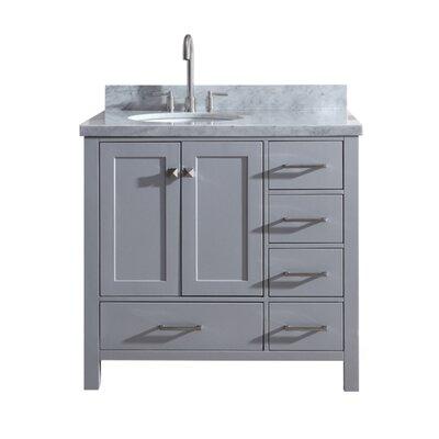"Utley Modern 37"" Single Bathroom Vanity Set Base Finish: Gray"