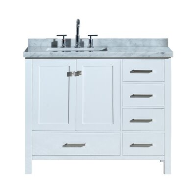 """Utley 43"""" Wood Base Single Bathroom Vanity Set Base Finish: White"""