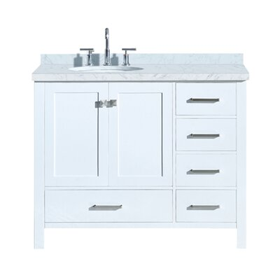 "Utley Modern 43"" Rectangular Single Bathroom Vanity Set Base Finish: White"