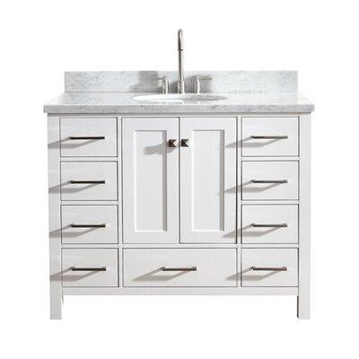 "Utley Modern 43"" Single Bathroom Vanity Set Base Finish: White"