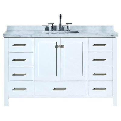 "Utley Modern 55"" Single Bathroom Vanity Set Base Finish: White"