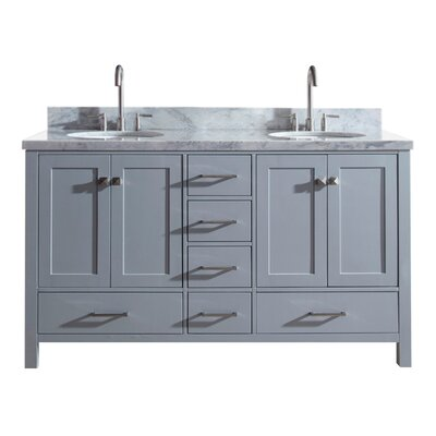 "Utley 61"" Double Bathroom Vanity Set Base Finish: Gray"