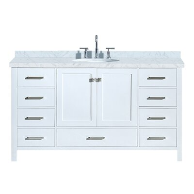 "Utley 61"" Single Bathroom Vanity Set Base Finish: White"