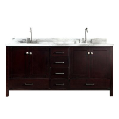 "Utley 73"" Double Bathroom Vanity Set Base Finish: Espresso"